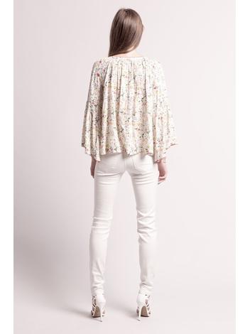 - Blouse ample écru imprimé fleurs et perles multicolore -