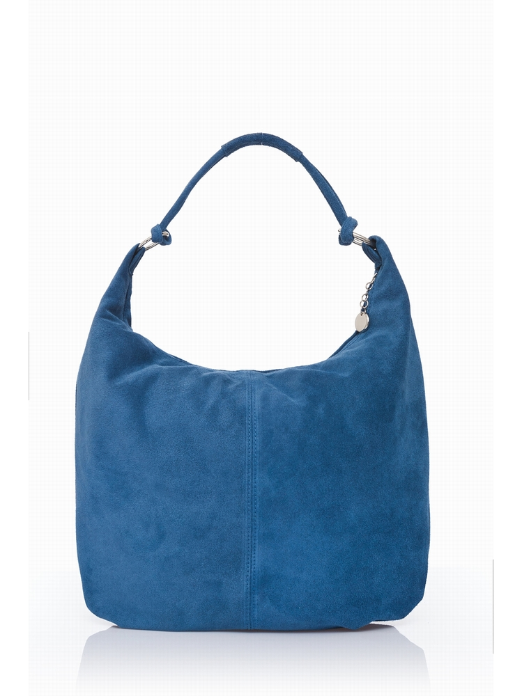 Suede Slouch Shopper Bag. Suede Outer. Top zip clousure.