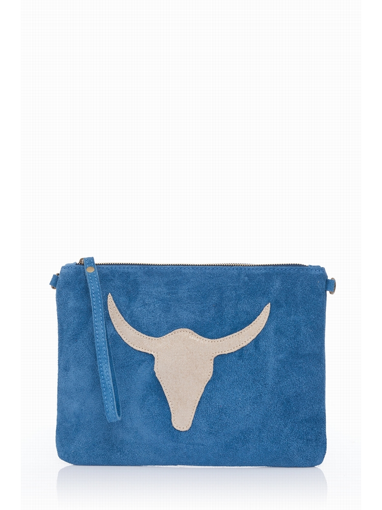 Suede Clutch Bag.Suede outer Adjustable body strap.Top zip