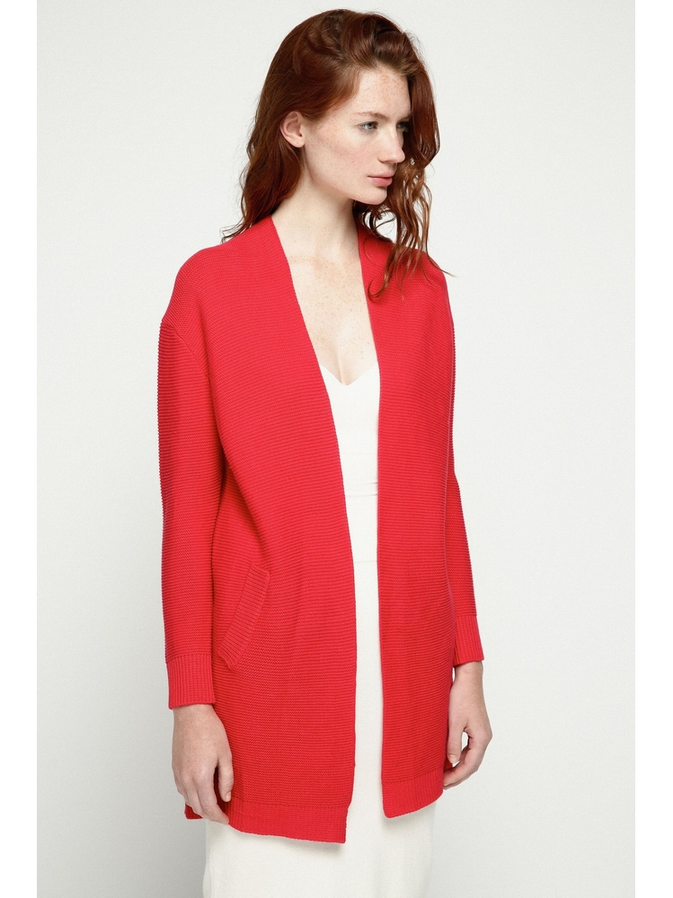 - Cardigan rouge en maille - Manches longues - Coupe ample -