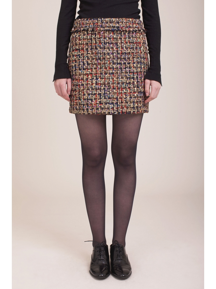 - Jupe courte en tweed multicolore et lurex - Fermeture zip