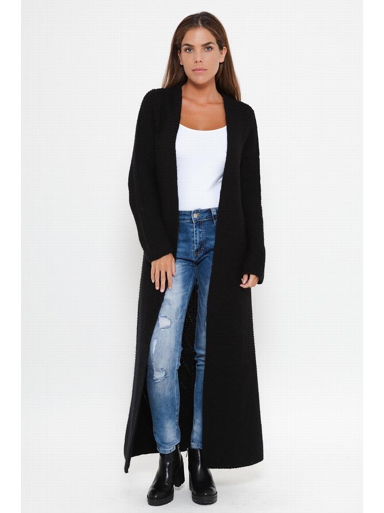 - Veste en tricot extra longue sans fermeture. - Foulard