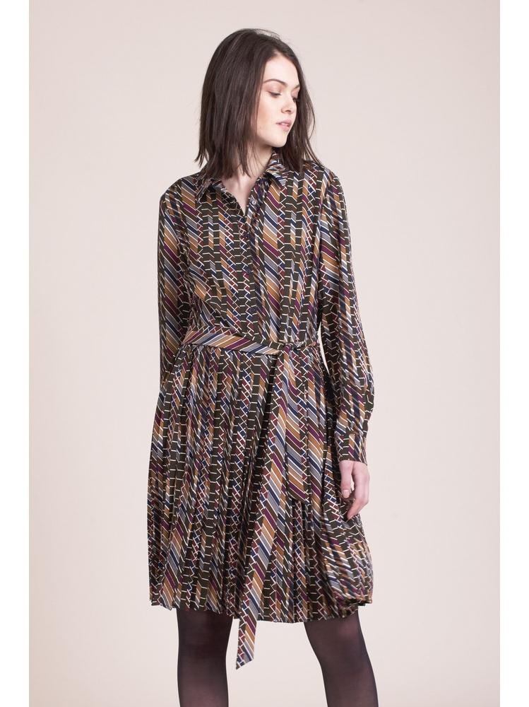 - Robe Col chemise imprimé multicolor - Haut boutonné - Bas