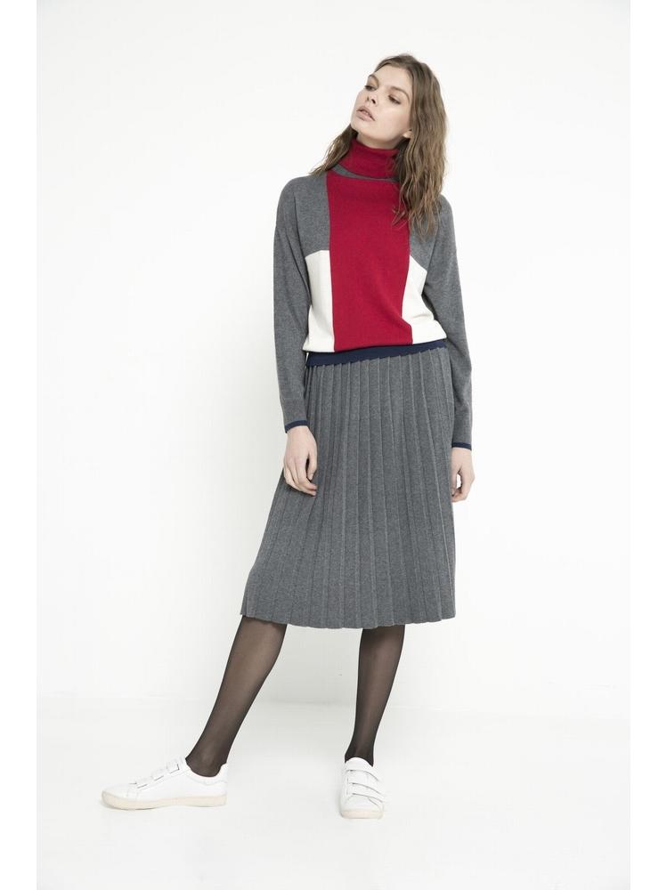 - Jupe en maille plissée - Longueur genoux - Ceinture Bord