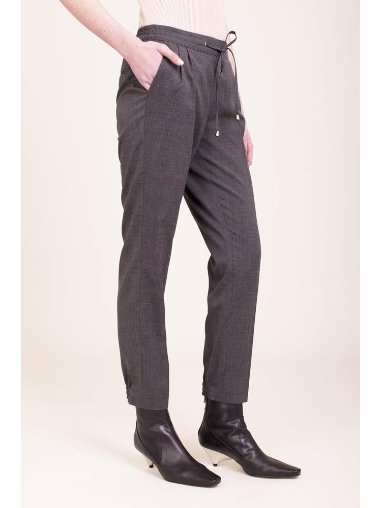 - Pantalon à carreaux avec pinces sur le devant - Taille