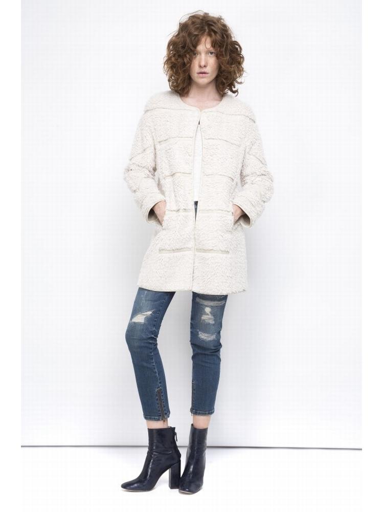 - Manteau 3/4 en fourrure synthétique - empiècements de