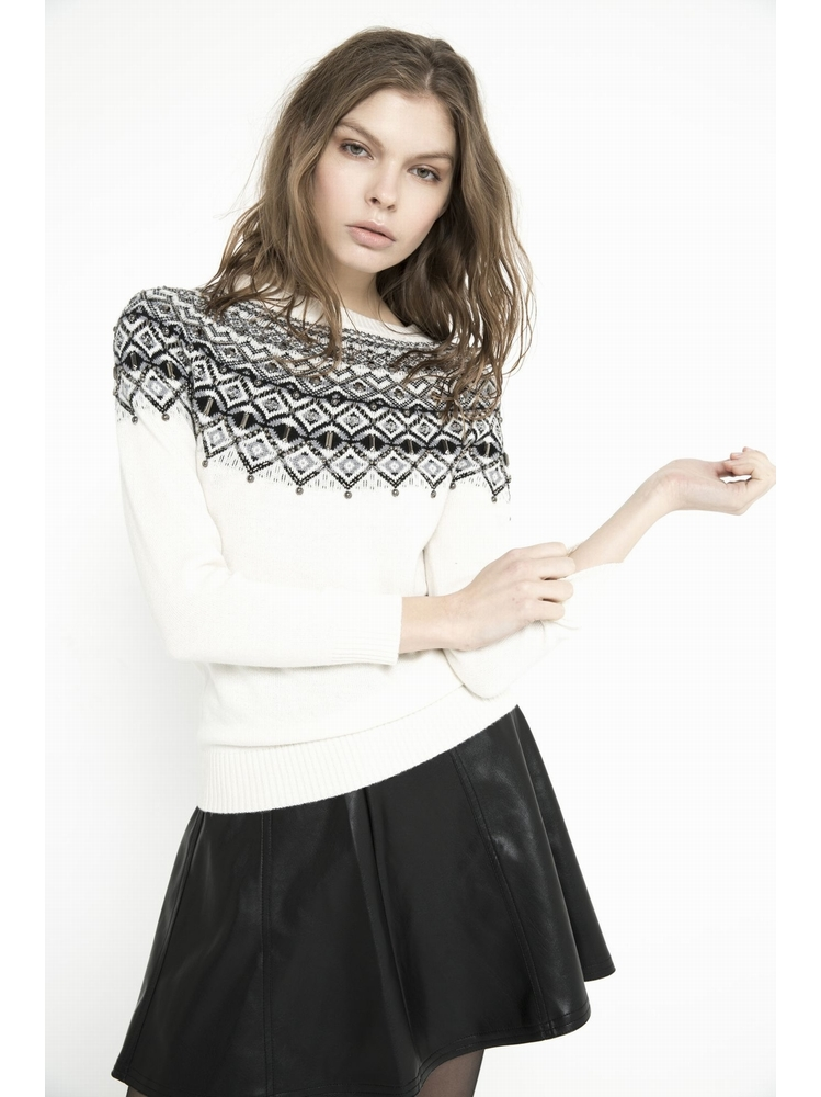 - Pull tricoté en jacquard - Col ras de cou - Manches