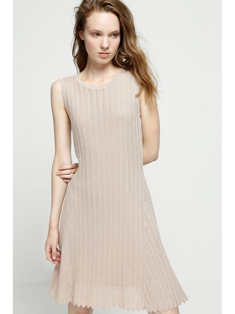 - Robe pull fin sans manche nude effet brillant - Maille
