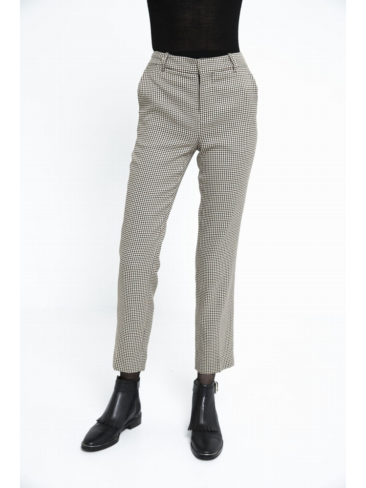 - Pantalon taille haute à motif pied-de-poule - Taille haute