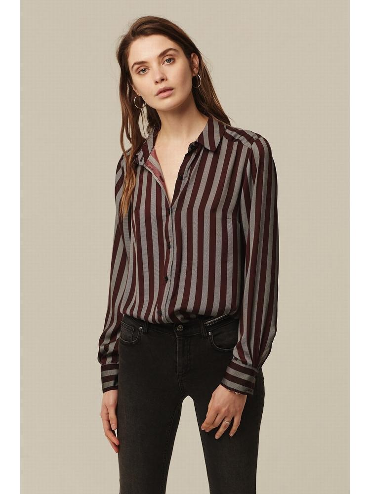 - Chemise à rayures bordeaux - Manches longues - 100%