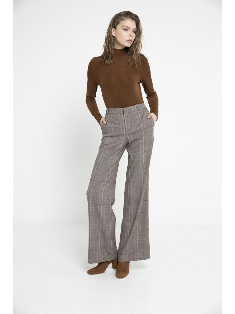 - Pantalon flare - taille haute - motif Prince de Galles - 2