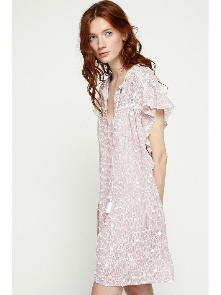 - Robe ample à fines rayures en coton brodée - Col tunisien