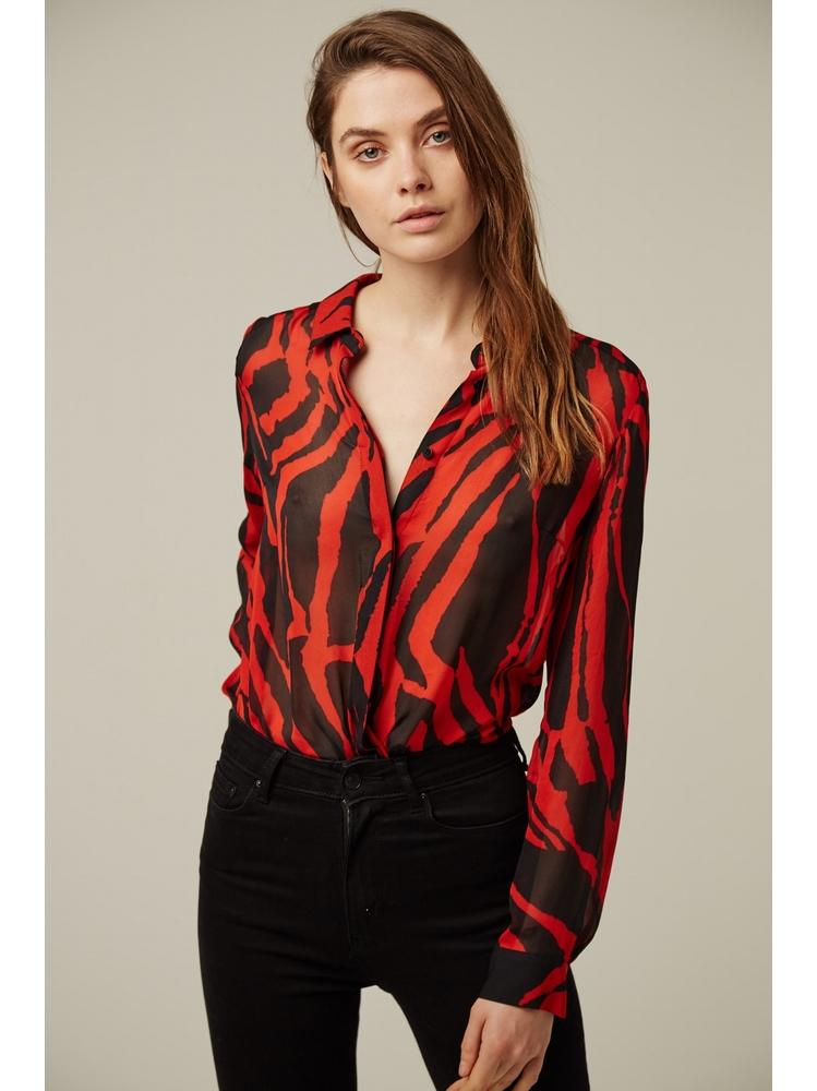 - Chemise fluide imprimée zèbre rouge et noir - Col à revers