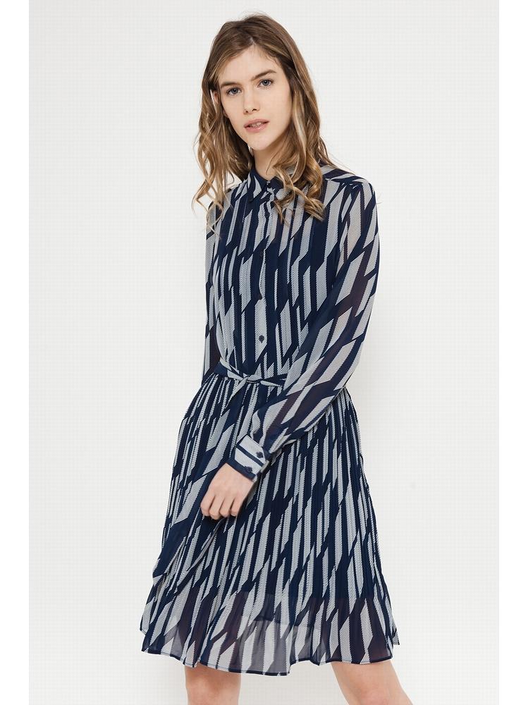 - Robe col chemise imprimé géométrique marine - plissé -