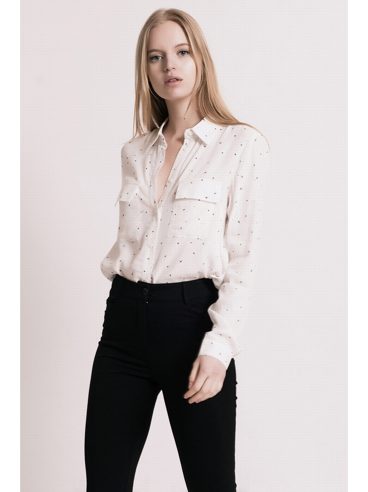 - Chemise imprimée blanc - manches longues - poches poitrine