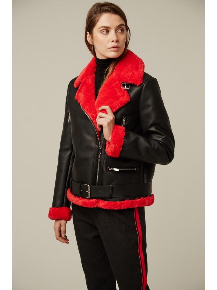 - Blouson de motard noir avec intérieur en fourrure rouge -