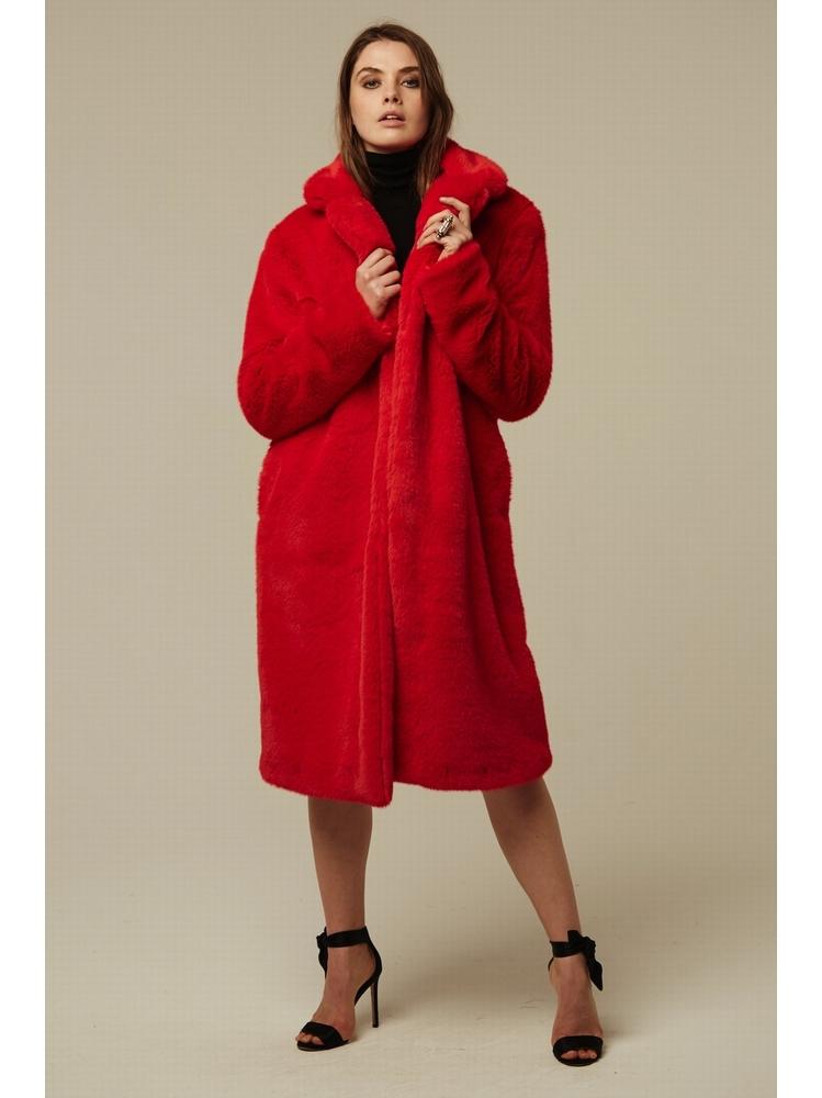 - Manteau en fausse fourrure rouge - Fermeture croisée -