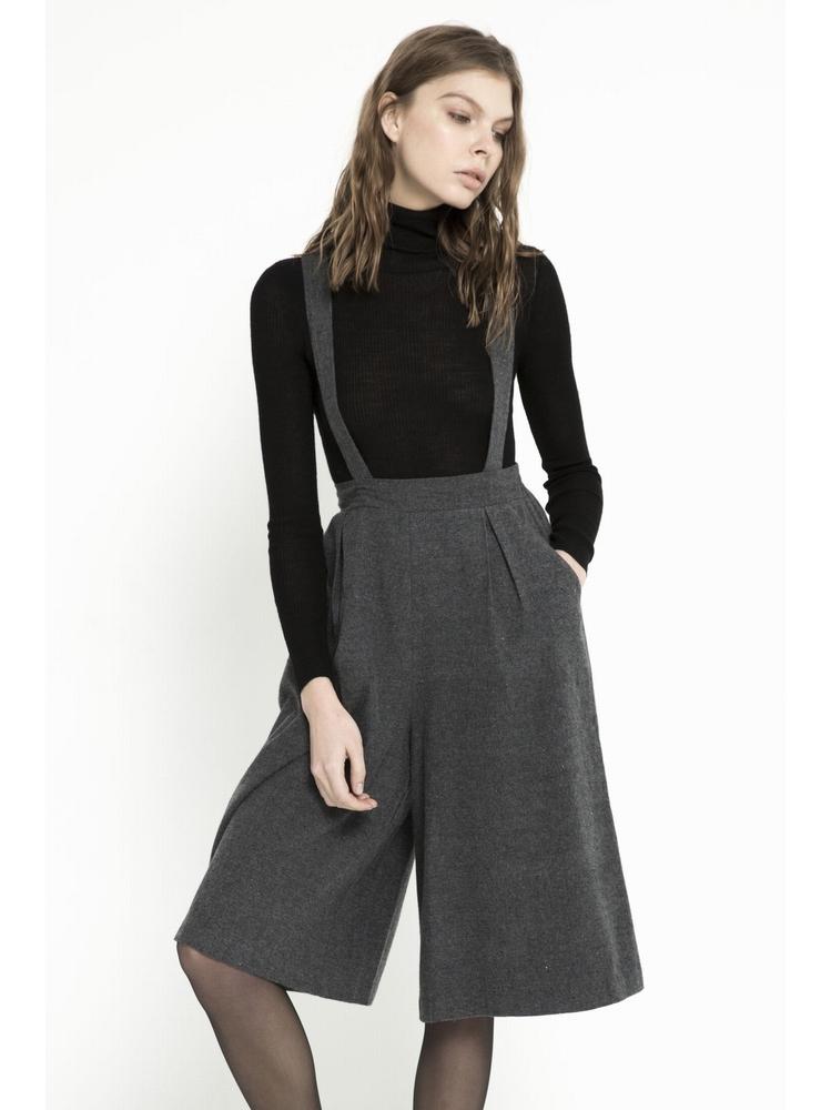- Jupe-culotte à bretelles - Sergé de coton - Taille