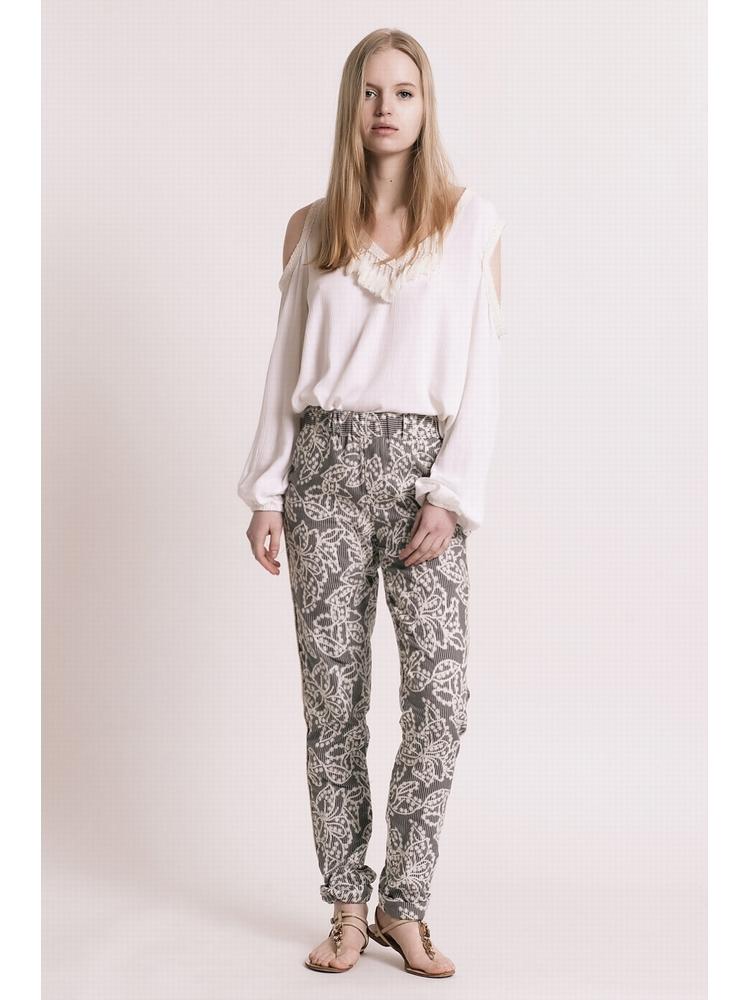 - MADE IN FRANCE - Pantalon coupe droite en jacquard imprimé