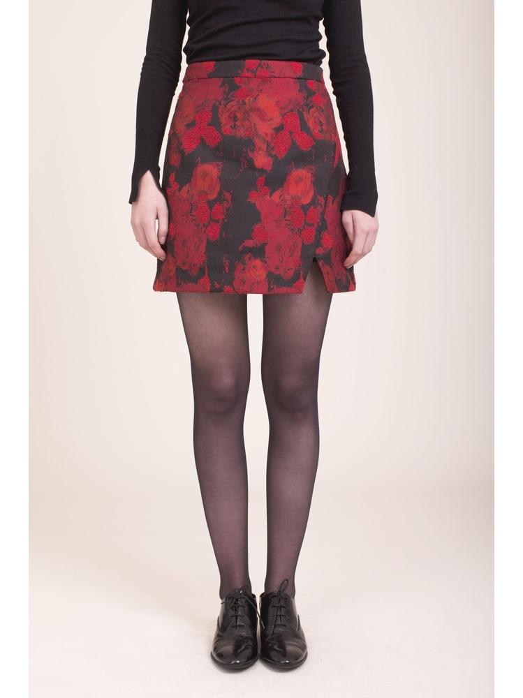 - Jupe courte noir imprimé fleurs rebrodé - Fermeture Zip au