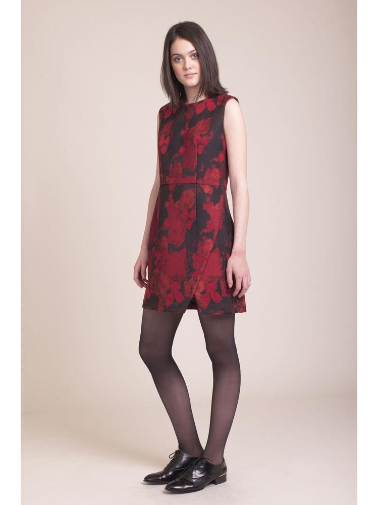 - Robe cintrée noir imprimé fleurs rebrodé - Sans manche -