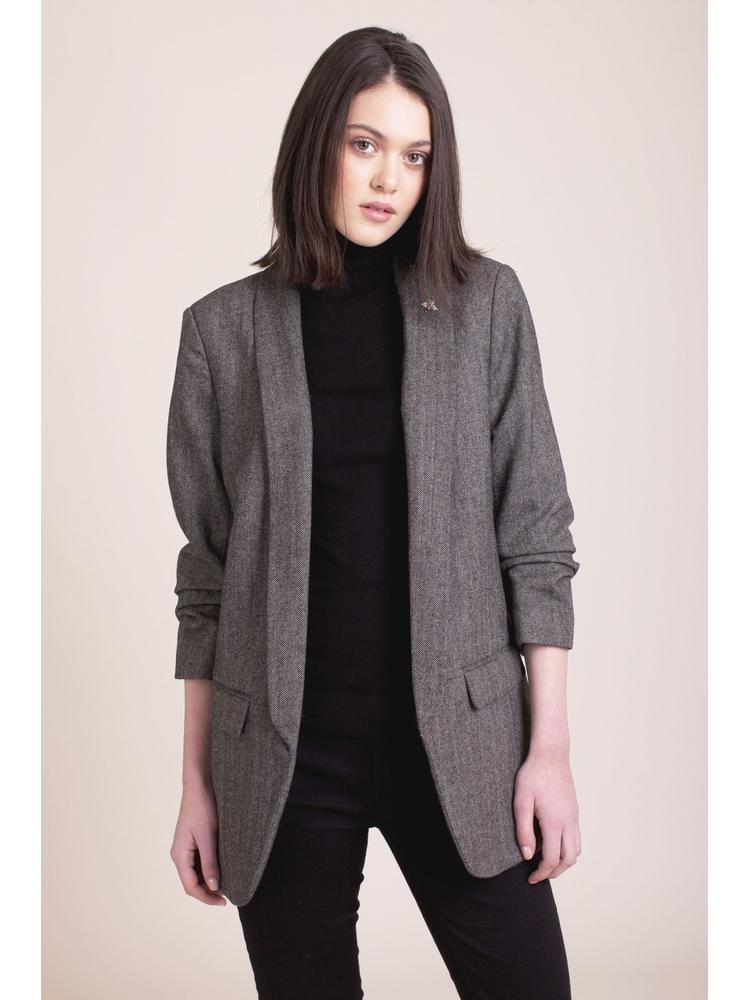 - blazer imprimé chevrons noir et blanc - Manches 3/4 à plis