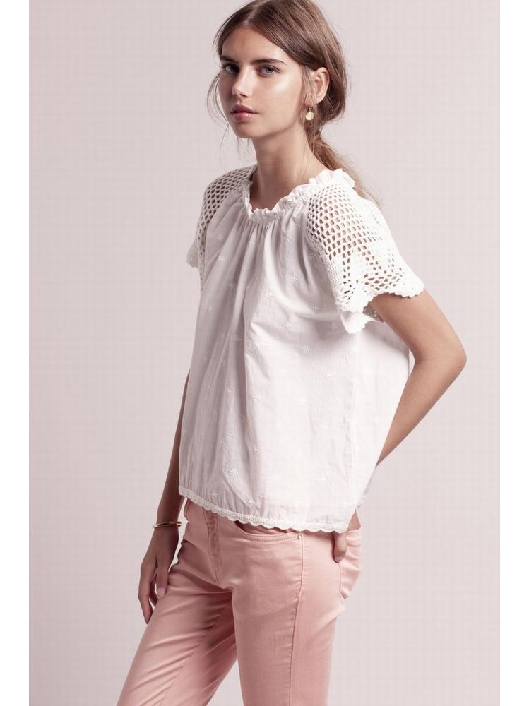 - Top blanc brodé à manches courtes en crochet - Col rond