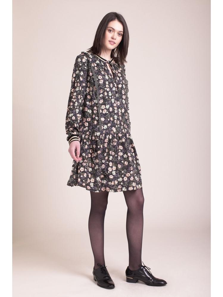 - Robe courte imprimé fleurs kaki à volants - Coupe ample -