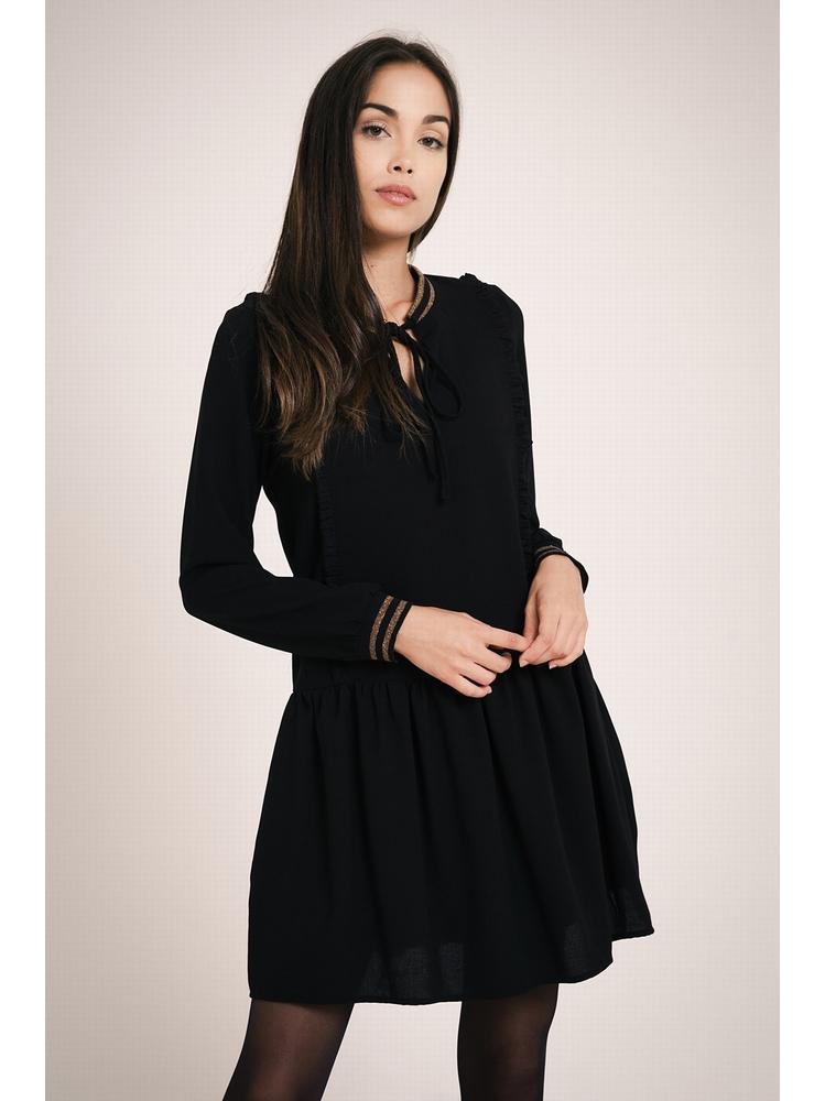 - Robe courte et ample noir à volants - Manches longues -