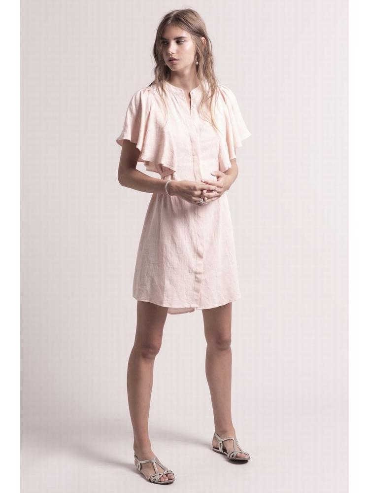 - Robe boutonnée rose en coton lin brodé à manches volantées
