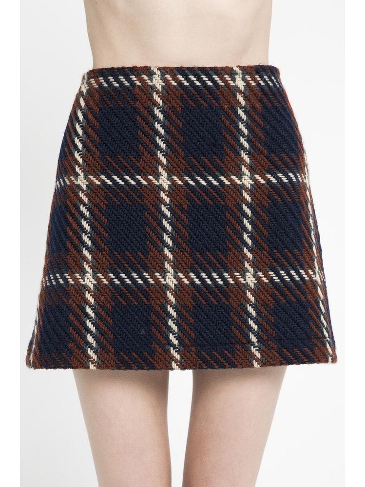- Jupe courte en tweed - Taille haute - Légerement évasée -