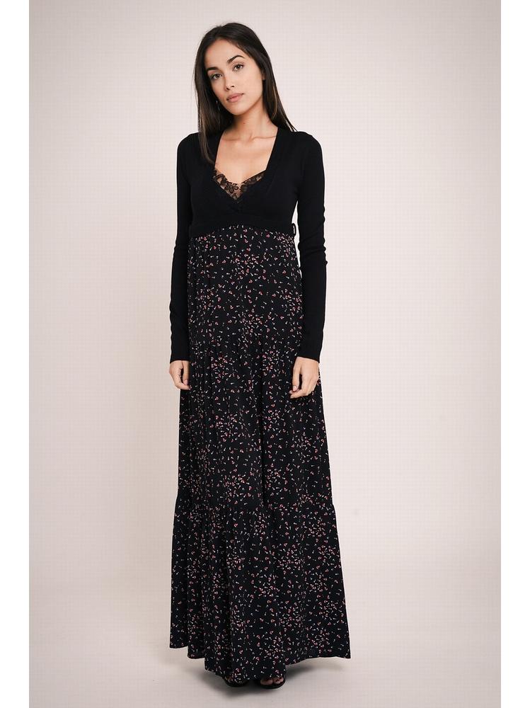 - Robe longue imprimé 2 en 1 - Top en tricot manches longues