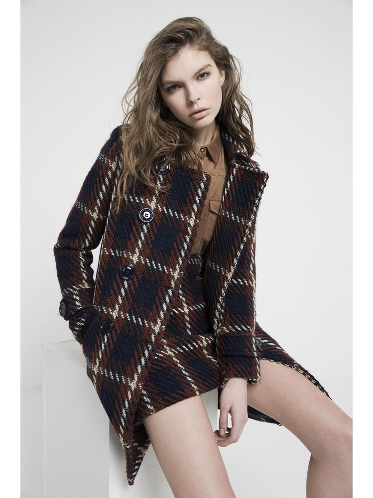 - Manteau 3/4 en tweed - Boutonnage croisé - Manches longues