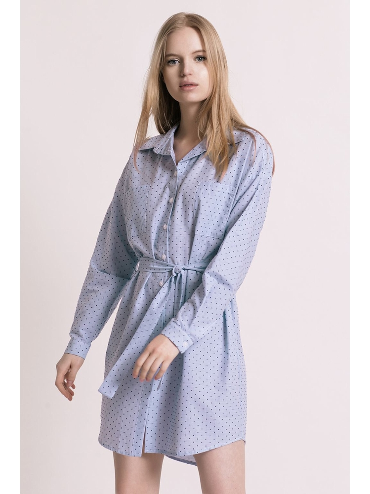 - MADE IN FRANCE - Robe chemise en coton à pois - 2 poches