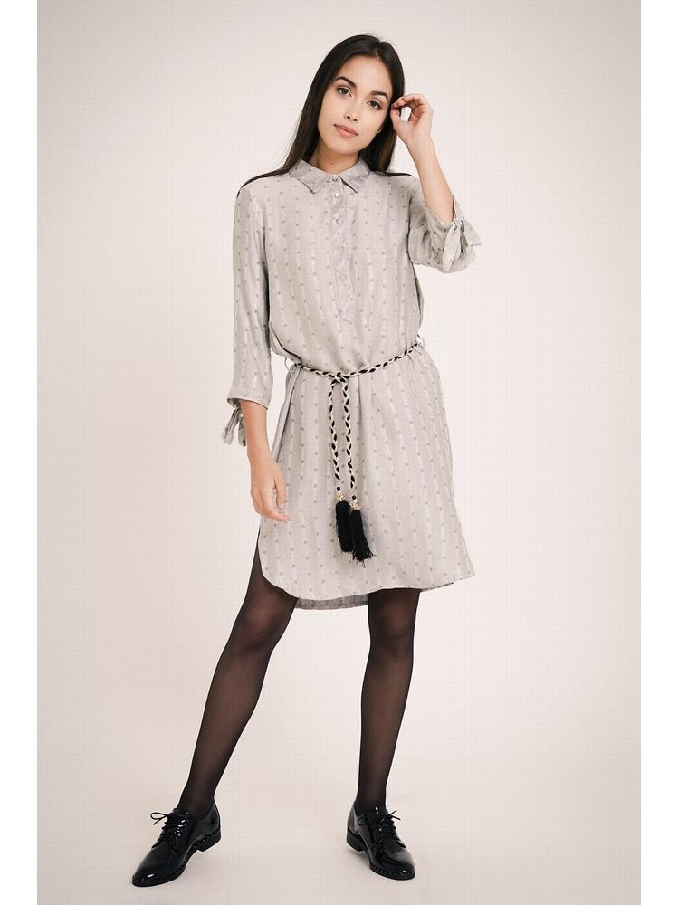- Robe chemise imprimé à details métallique - Col boutonné -