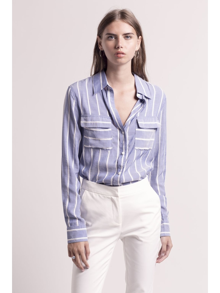 - Chemise bleu jean à rayures brodées blanches - Manches