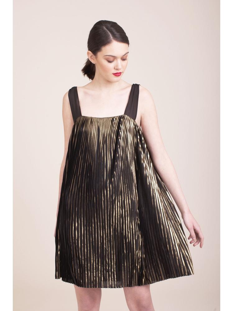 - Robe courte tissu plissé métallique contrasté - Bretelles