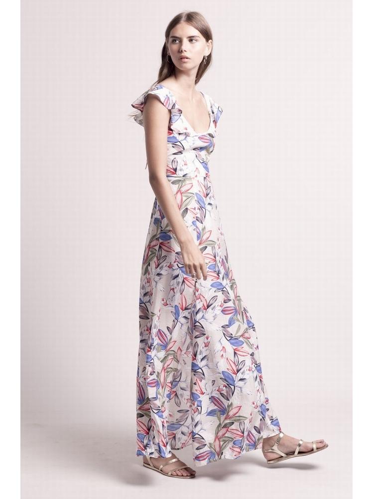 - Robe longue à volant imprimé fleurs multicolore - Ouvert