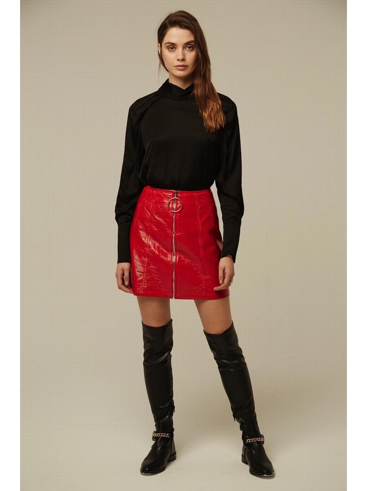 - Mini jupe en vinyle avec fermeture zippée à tirette en