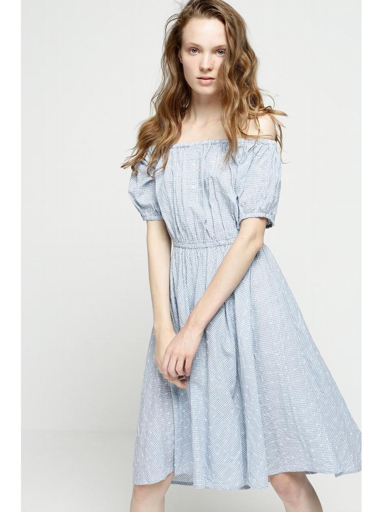 - Robe brodée en coton vichy bleu ciel - Manches courtes -