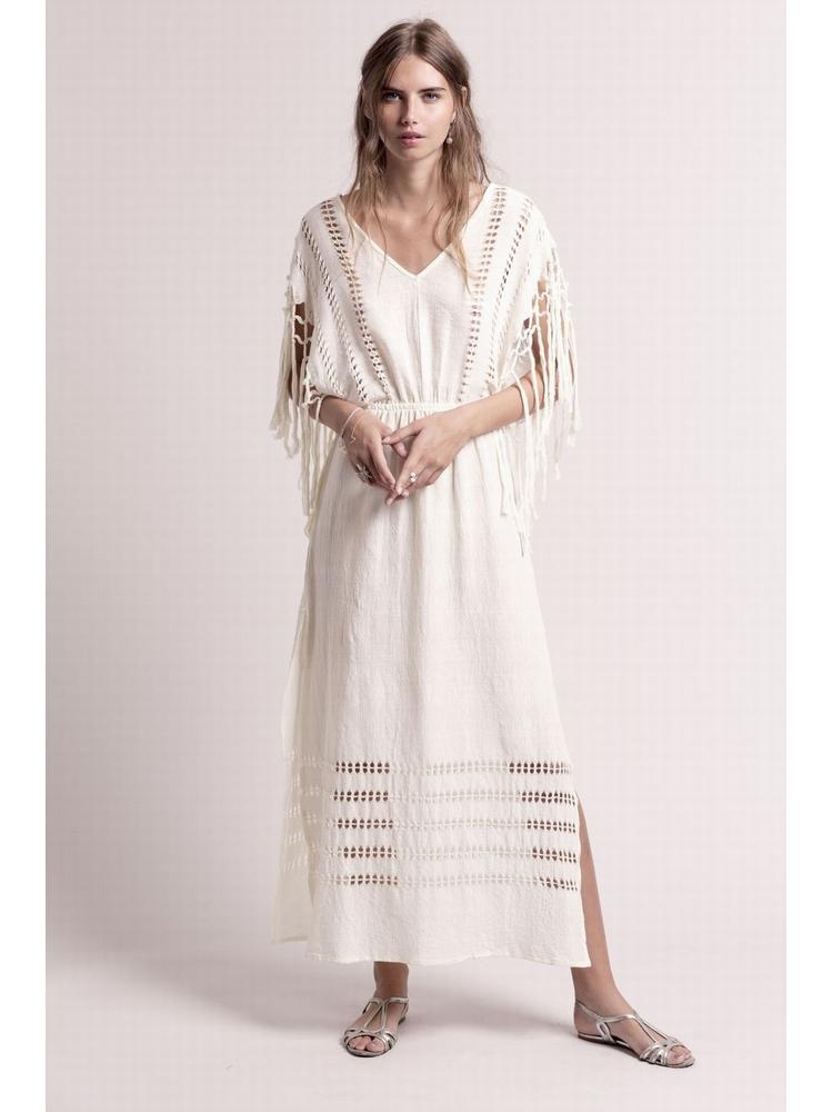- Robe longue en coton à frange - Tissus tressé