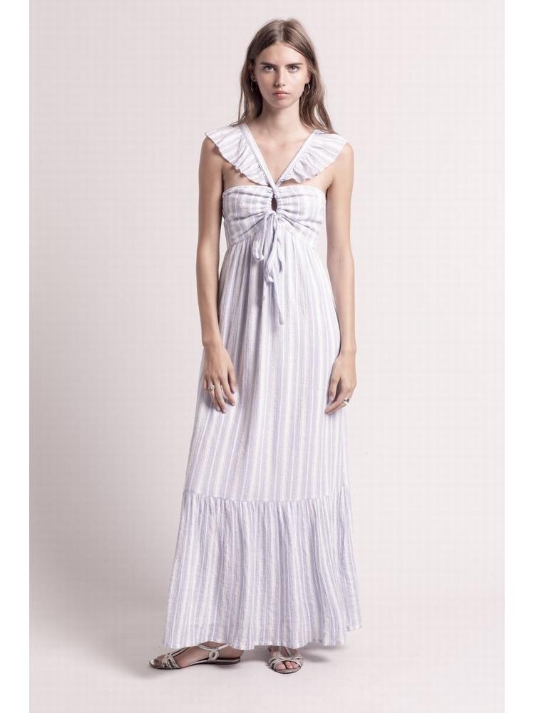- Robe longue en coton à rayures bleu et blanc qui peut se