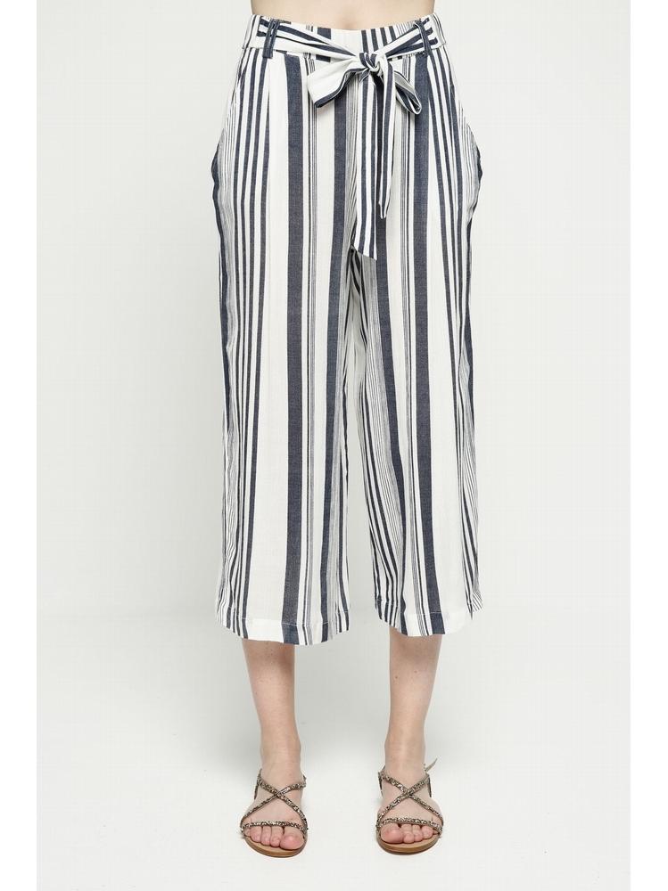 - Jupe-culotte à rayures bleu - Taille haute - Coupe ample -