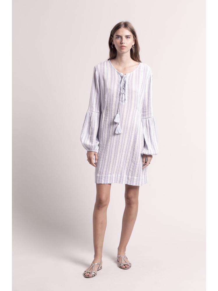 - Robe ample en coton à rayures bleu et blanc - manches