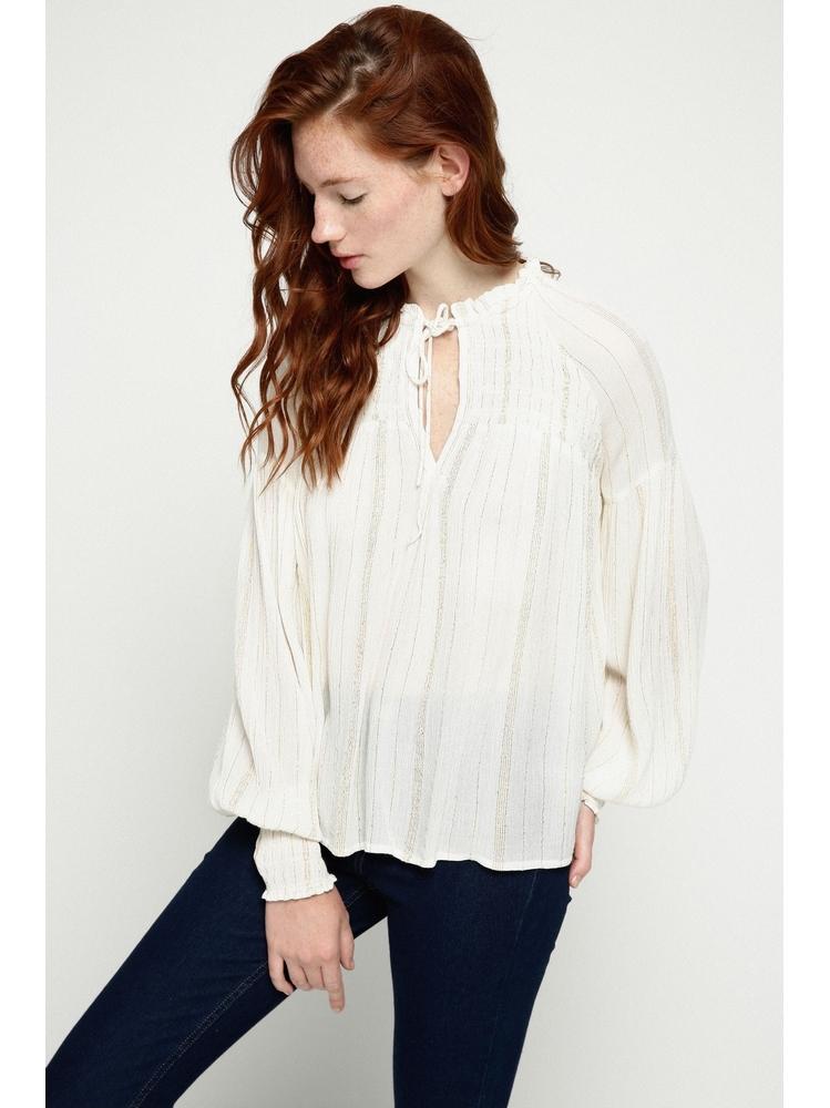 - blouse ecru à rayures en fils dorés - Manches longues -