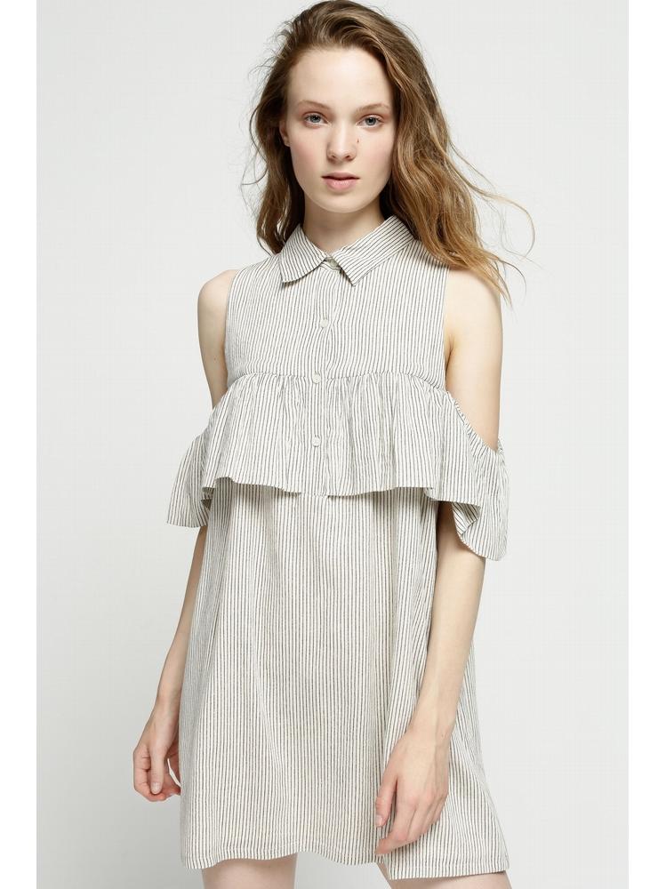 - Robe courte boutonnée beige à rayures noir - épaules