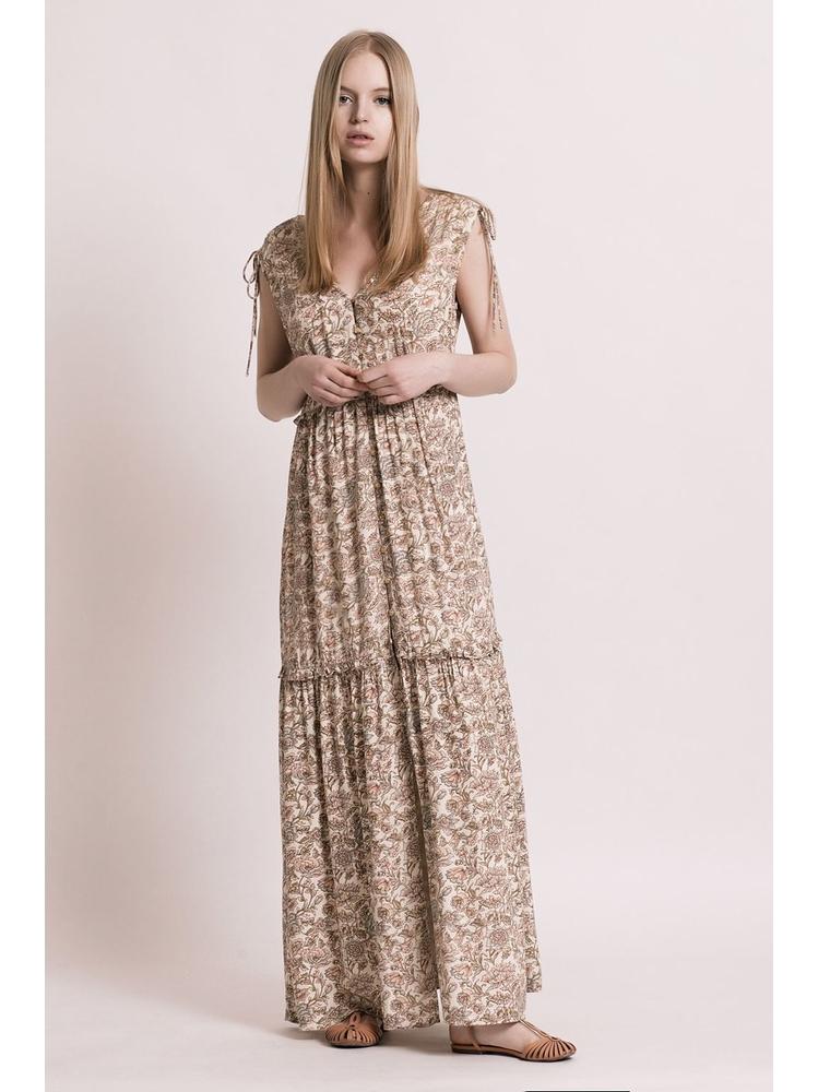 - Robe longue crème imprimé floral à volants - Entièrement
