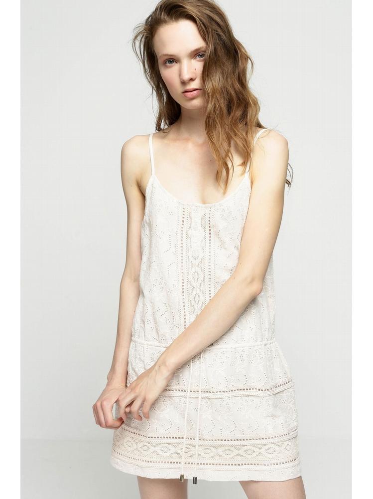 - Robe courte brodé rose pale - bretelles réglable - Col