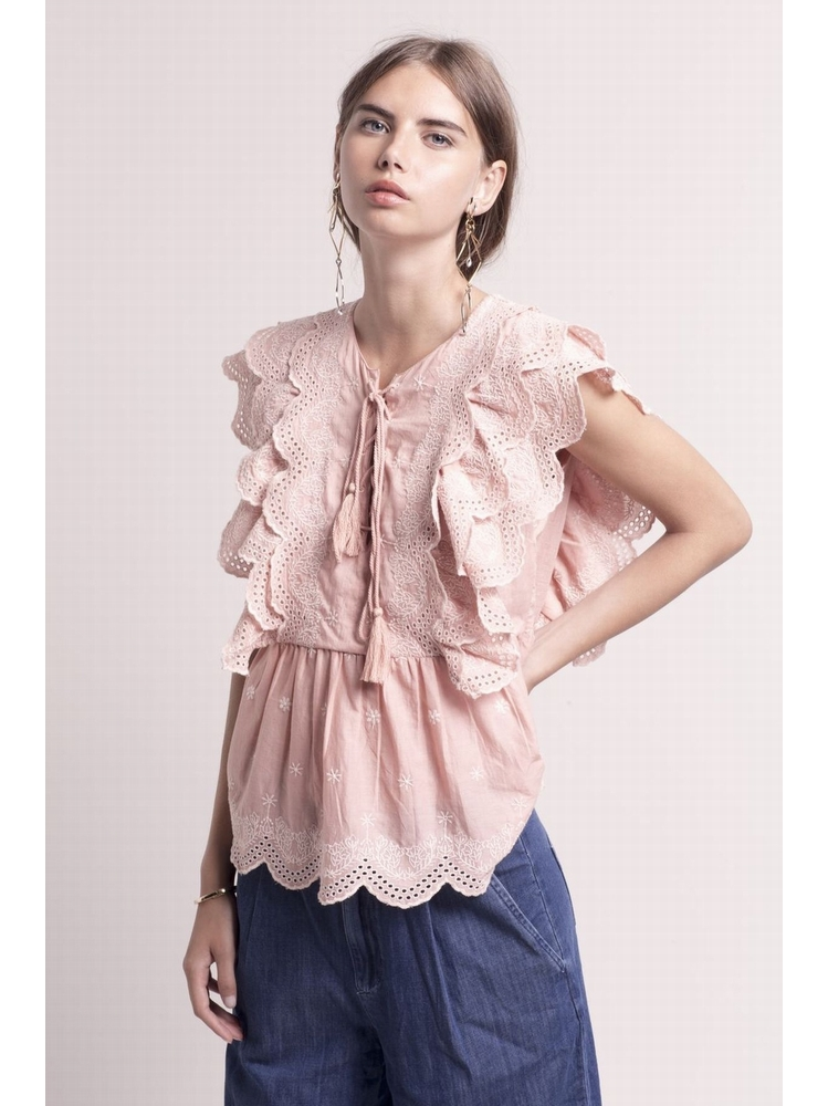 - Top rose broderie anglaise - Col tunisien avec lacets