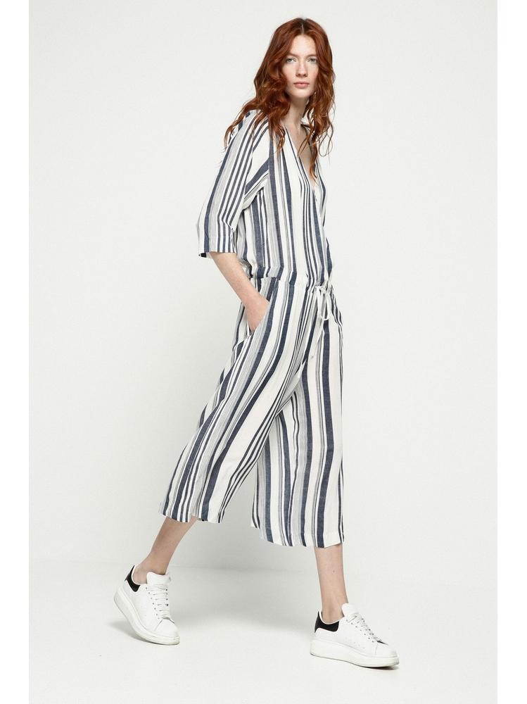 - Combinaison jupe-culotte à rayures bleu - Coupe ample -